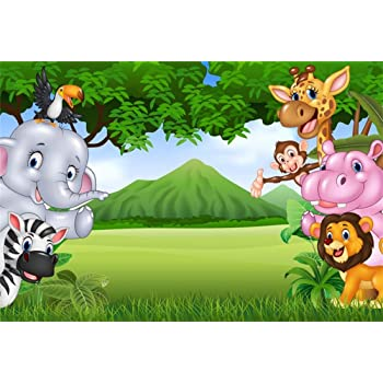 YEELE Safari Theme Party Backdrop 10x10ft Kids Birthday Party Photography Background Baby Shower Party Table Girls Children Portrait Pre-k Event Photobooth Props Digital Wallpaper