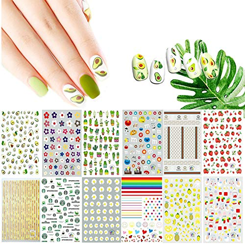 EBANKU 1000+ Nail Art Decals for Girls, 3D Self-Adhesive Spring Nail Art Stickers Flower Fruits Plant Rainbow Decals Decoration for Little Girls Kids Women (12 Sheets)