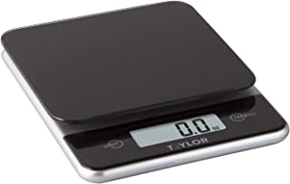 Taylor Precision Products Glass Top Food Scale with Touch Control Buttons, 11 Pounds, Black
