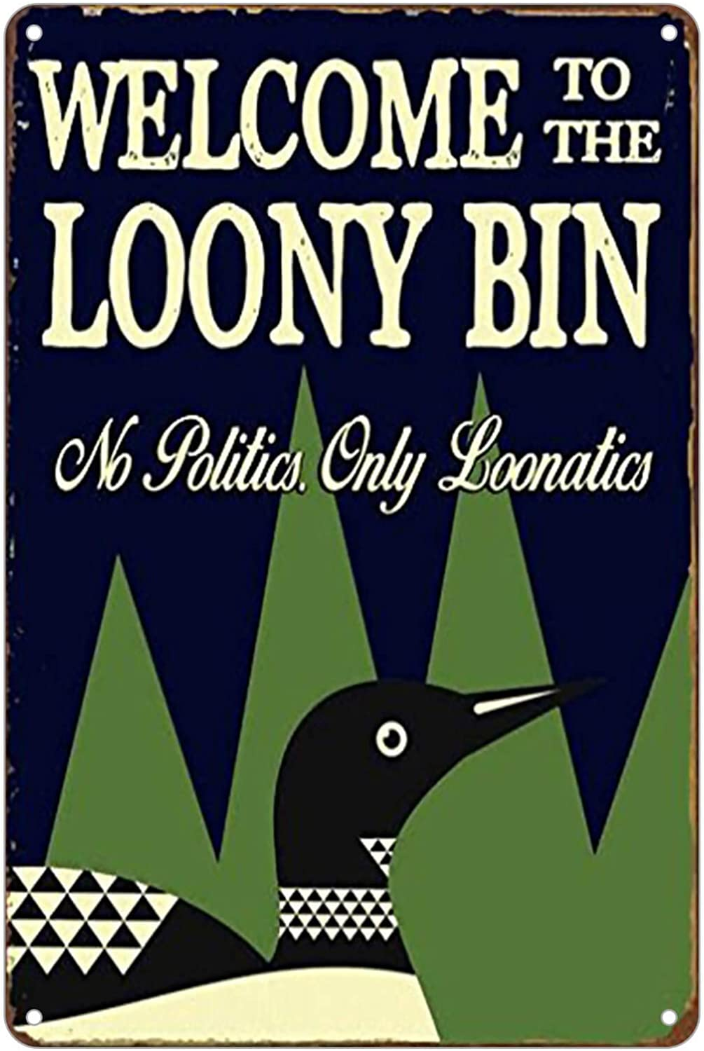 KENSILO Welcome to The Looney Bin Sign Humorous Casual Den Bar Cabin Loon Lake Farm House Wall Decor Metal Tin Signs Vintage 8 x 12 inches