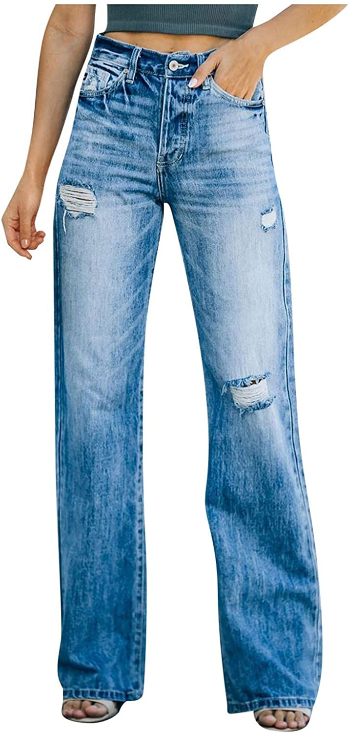 Aiouios High Waisted Jeans for Women Y2K Fashion Distressed Baggy Straight Jeans Stretch Wide Leg Denim Pants Trousers