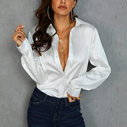 HUAIHUA Camisa Blanca de Seda de Manga Larga con Cuello en v ...