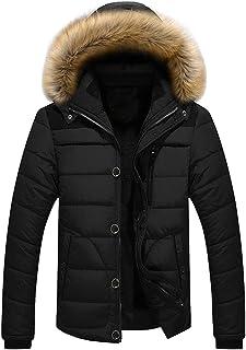 ZiXing Men's Winter Warm Jacket Hooded Parka Outwear Coat with Fur Hood