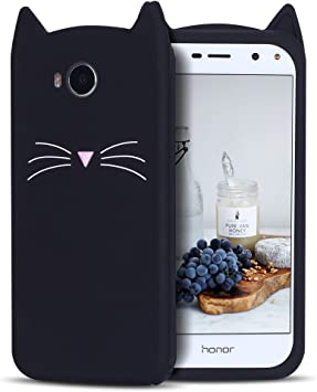 Coque Huawei Y6 2017, CaseLover Souple Silicone Coque Huawei Y6 2017 / Y5 2017 Cute 3D Oreilles Chat Cartoon Anti-Rayures Housse Protection Doux Gel ...