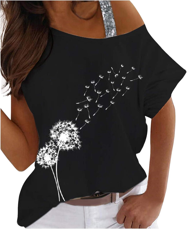 FMYONF Camiseta de mujer con hombros descubiertos, manga corta, sudadera, sexy, hombros fríos, elegante, impresión gráfica, blusa de verano