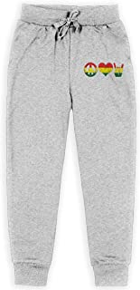 Peace Love Rock and Roll Rasta Reggae Boys Sweatpants,Sweatpants For Boys