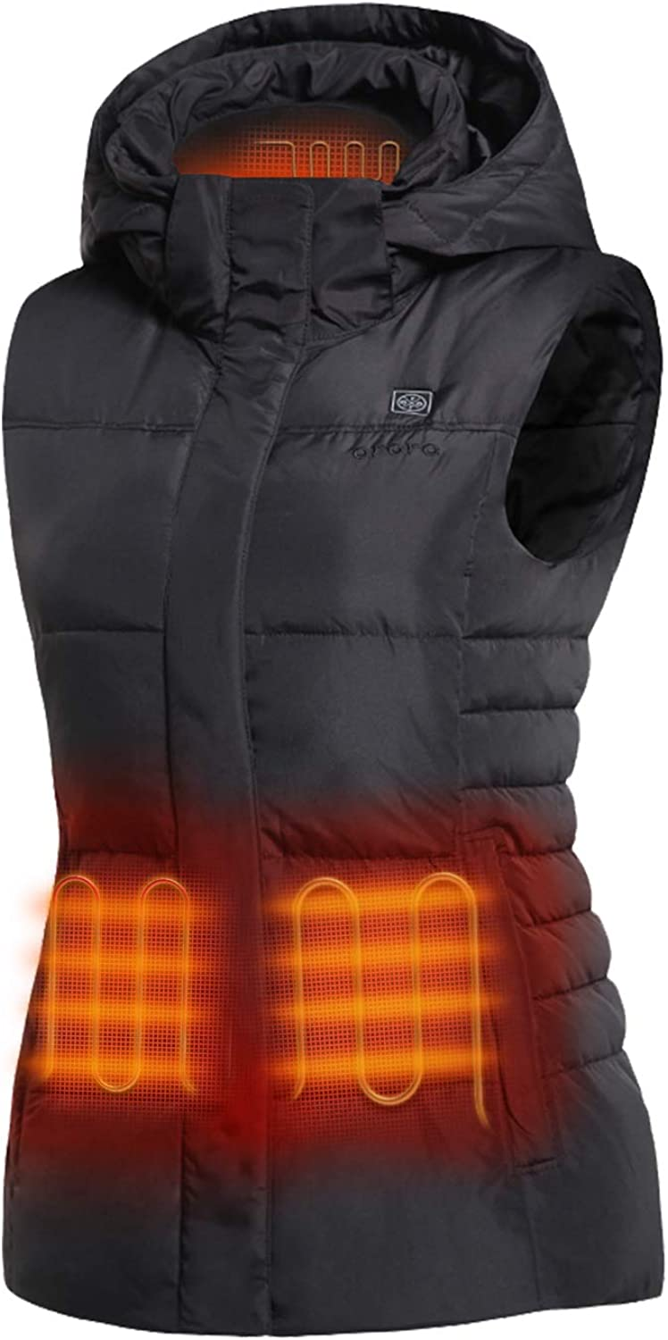 ORORO Women's Heated Vest with 90% Down Insulation and Detachable Hood (Battery Included): Clothing