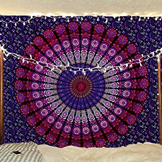 959bc1c2e8cc7 Bless International Indian Hippie Bohemian Psychedelic Peacock Mandala Wall  Hanging Bedding Tapestry (Purple Pink