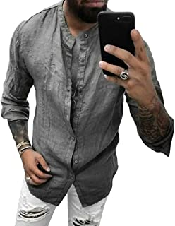 YYG Men Casual Cotton Linen Solid Long Sleeve Shirt Button Up Shirt