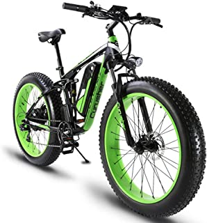 Cyrusher XF800 Fat Tire Electric Bike 1000W 48V Mens Mountain Bike Snow Ebike 26inch Bicycle Full Suspension Fork Hydraulic Brakes …