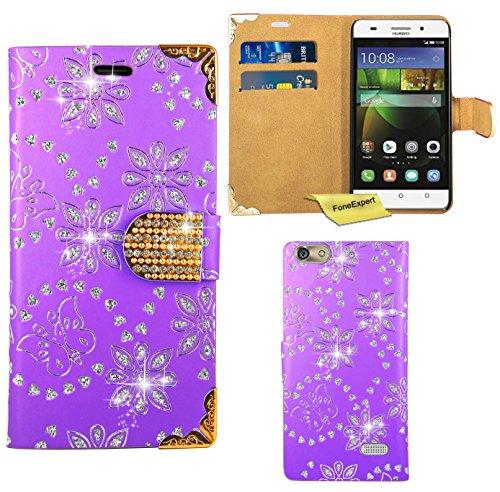 FoneExpert® Huawei G Play Mini / Honor 4C Handy Tasche, Bling Diamant Hülle Wallet Case Cover Hüllen Etui Ledertasche Premium Lederhülle Schutzhülle für Huawei G Play Mini / Honor 4C (Lila)