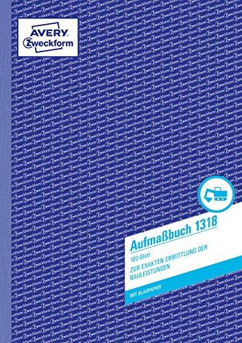 AVERY Zweckform 1318 maat (A4, met 2 vellen blauw papier, getest door juridische experten, voor Duitsland en Oostenrijk voor de exacte bepaling van de bouwprestaties, 100 vellen) wit