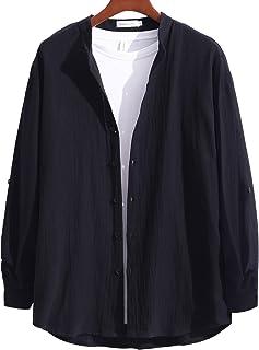 [ラッキーチャーム] シャツ メンズ スタンドカラー カジュアルシャツ 長袖 ゆったりサイズ