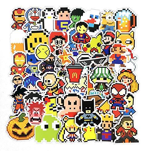 HENJIA54pcs Anime Mosaic Pixel Style Graffiti Sticker Equipaje Notebook Water Cup Etiqueta engomada Impermeable del teléfono
