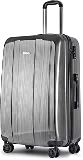 Wanderlite 28'' Hard Suitcase Large Lightweight Roller Luggage Case, Grey