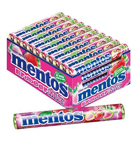 Mentos Erdbeer-Mix Dragees, 40 Rollen Bonbons, Geschmack Erdbeere süß-sauer, Verkaufsdisplay Kaubonbons