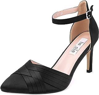 Women's Closed Toe High Heels Ankle Strap Satin Dress...