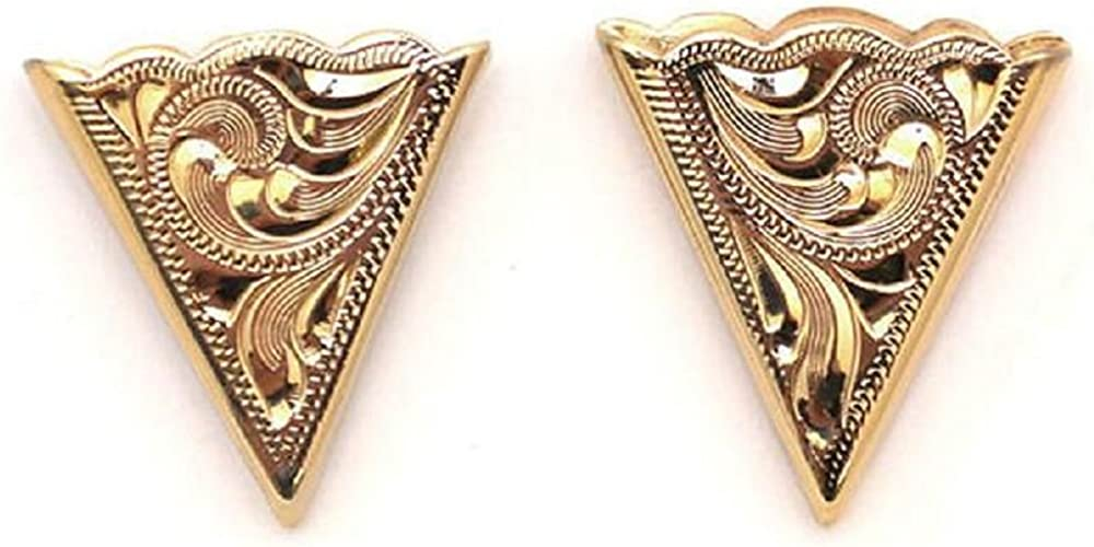 Gold Plated Engraved Collar Tips