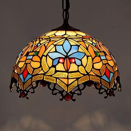 W&HH Lampadario Tiffany Barocco lampadario in Vetro colorato Creativo Lampada da soffitto Interna Lampada a Sospensione 40cm