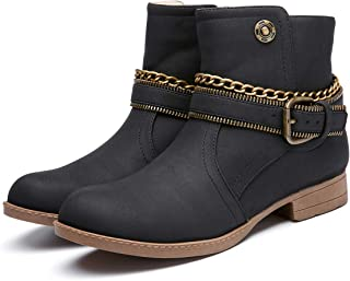 1d6dc018e942fc Camfosy Bottes Femmes Hiver Fourrées, Bottines de Neige à Talons Plats avec Fourrure  Chaussures Ville