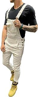 N / D Men Denim Bib Workwear Denim Jumpsuit Slim Fit Jumpsuit with Pocket Casual Pants