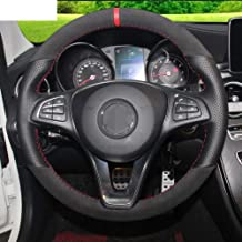 ZHOUMOFXP Black Genuine Leather Black Suede Red Marker Hand stitched Car Steering Wheel Cover,For Mercedes Benz C180 C200 W205 C300 B200