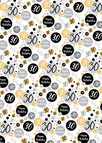Geschenkpapier zum 30. Geburtstag, 2 Bögen + 2 passende Geschenkanhänger zum 30. Geburtstag, Schwarz, Gold, Silber, Geschenkpapier für Männer und Frauen (PA)