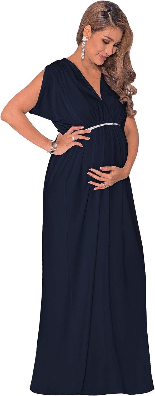 koh koh Womens Long Short Sleeve V-Neck Maternity Summer Flowy Gown Maxi Dress