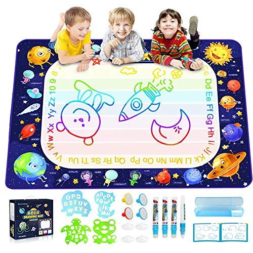 Baztoy Aqua Magic Doodles Matte, Kinder Spielzeug 100 x 70 cm Wasser Doodle Matte mit Stifte,Bürste,Modell,Stempel,Buch Lernspielzeug Painting Spiele Geschenk Junge Mädchen Toddler 3,4,5,6,7 Jahre