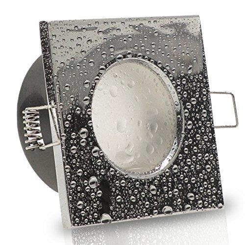 AQUA BASE IP65 3er Set 230V LED 5W dimmbar flach Decken Bad Einbaustrahler eckig Chrom glänzend Modul Warm-Weiß (3000k) nur 50 mm Einbautiefe Bad Feuchtraum Einbauleuchte quadratisch