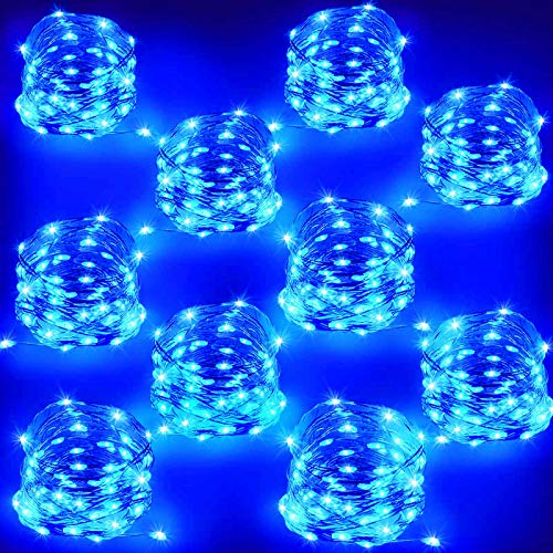 10 PACK Blue LED String Lights, Battery Operated Hanukkah Lights, Flexible Copper Fairy Lights for Bedroom, Christmas Tree, Fireplace, Chanukah decorations, Party, Home Decor (16ft, 50LED,10pcs)