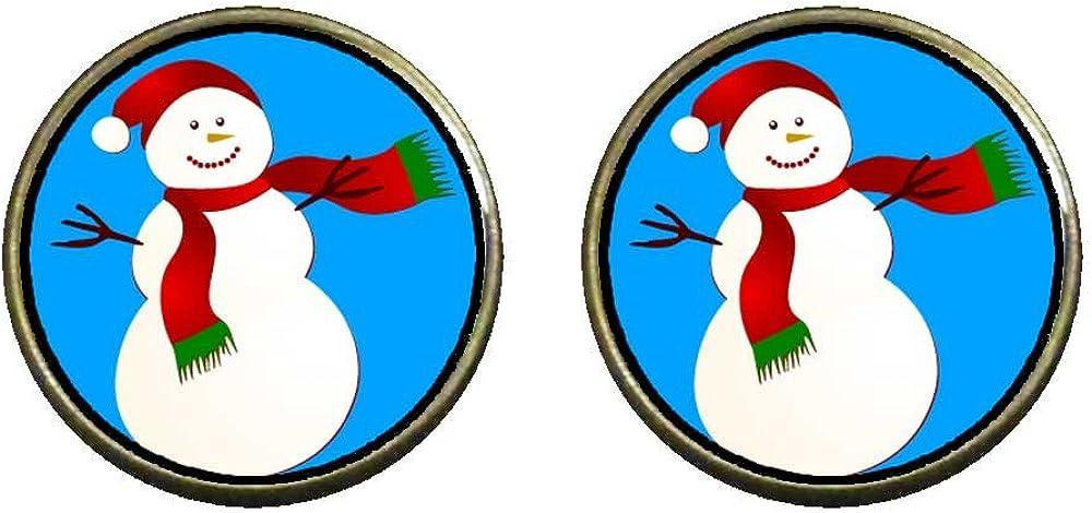 GiftJewelryShop Bronze Retro Style Christmas Snowman Photo Clip On Earrings 14mm Diameter