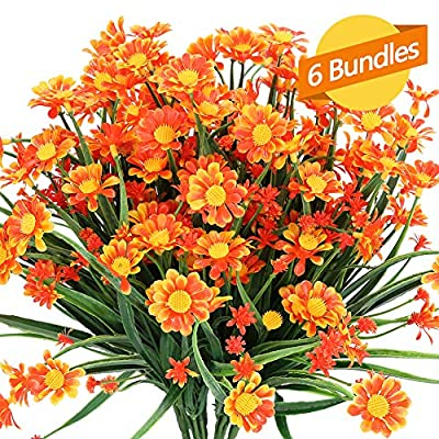 ArtBloom 6 Bundles Outdoor Artificial Daisies Fake Flowers UV Resistant Shrubs, Faux Plastic Greenery for Indoor Outside Hanging Plants Garden Porch Window Box Wedding Farmhouse Decor (Orange Red)