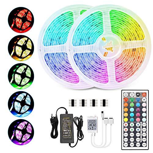 RGB LED Strip 10M, Hospaop LED Streifen 2x 5M 300 Led Bänder IP65 Wasserdicht Lichtband mit Netzteil 44-Tasten Fernbedienung Selbstklebend für Innen außen Beleuchtung Deko [Energieklasse A+]