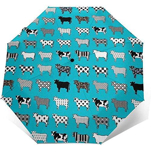 Türkisfarbene Kühe Reiseschirm Sonnenschirm-Leichter winddichter Sonnenschutzschirm-Auto-Knopf zum Öffnen und Schließen