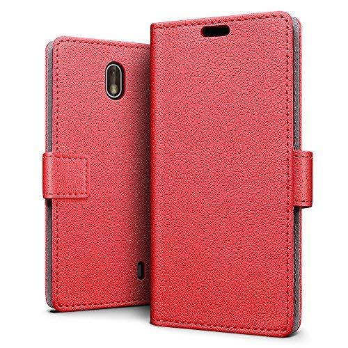 sleo Custodia Nokia 1, [Premium Portafoglio Protettiva] Wallet Cover Nokia 1, 2-Scheda Slot, [PU Pelle] Morbido Impermeabile Antipolvere Protezione, Nokia 1 Cover, Nokia 1 Custodia - Rosso