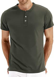 Mens Casual Slim Fit Long Sleeve Henley T-Shirts Cotton Shirts