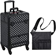 Yaheetech Makeup Case - Large Storage Professional Rolling Cosmetic Trolley with Sliding Drawer And Makeup Brush Bag Travel Train Case Vanity Box Full Black