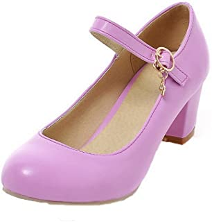 VogueZone009 Women's Round-Toe Pull-On PU Solid Kitten-Heels Pumps-Shoes