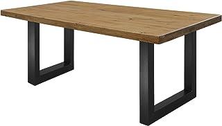 COMIFORT NRAHM - Table de salle à manger Bureau Moderne Loft Industriel en Chêne massif fumé Vernis extra mat Pieds en acier