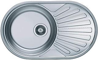 VBChome Einbauspüle 74x44 aus hochwertigem Edelstahl rundes Spülbecken mit Ablagefläche links rechts klassische Küchenspüle modernen Design Leinen universal