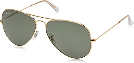Ray-Ban RB3025 Aviator Polarized Sunglasses, Gold/Polarized Green, 62 mm