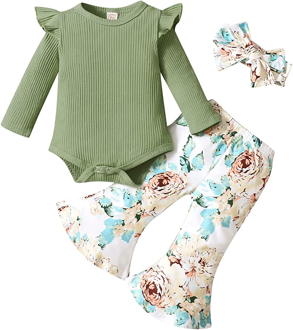 Infant Baby Girl Clothes Set Solid Ribbed Bodysuit Floral Bell Bottom Pants Set with Bowknot Headband