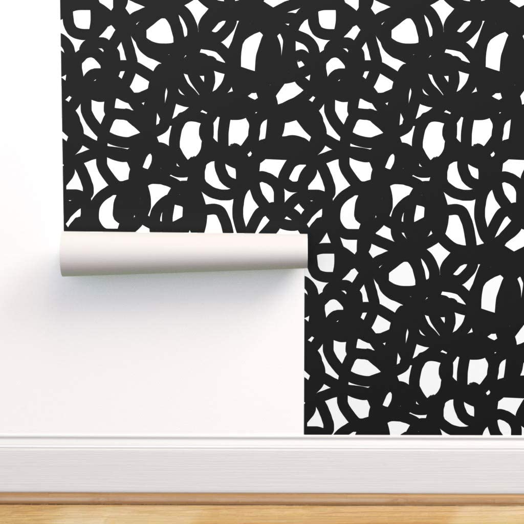 Phoenix Bargain Mall Removable Water-Activated Wallpaper - Black W B and White Grap