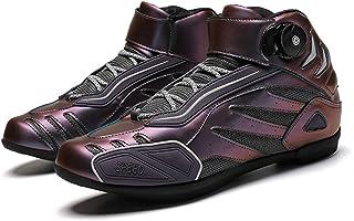 Chaussures cyclisme pour hommes,Bottes de chevaliers de moto en plein air Bottines de protection de vélo de voiture de cou...