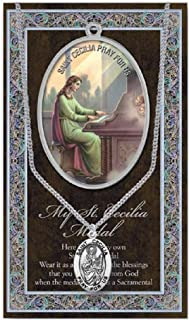 WJH St Cecilia Pewter Oval Medal with Continuous Loop Stainless Chain | Patron Saint of Musicians