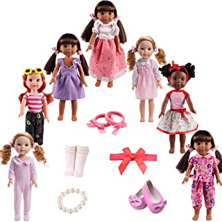 TSQSZ 7Sets Doll Clothes Shoes and Accessories for fit American Dolls 14inch14.5 inch Wellie Wishers Willa Dolls