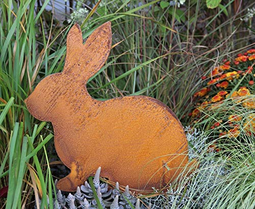 Bornhöft Osterhase Edelrost Dekofigur für Ostern und Frühling Hase Osterhase Edelrost rostige Gartendekoration Gartenstecker