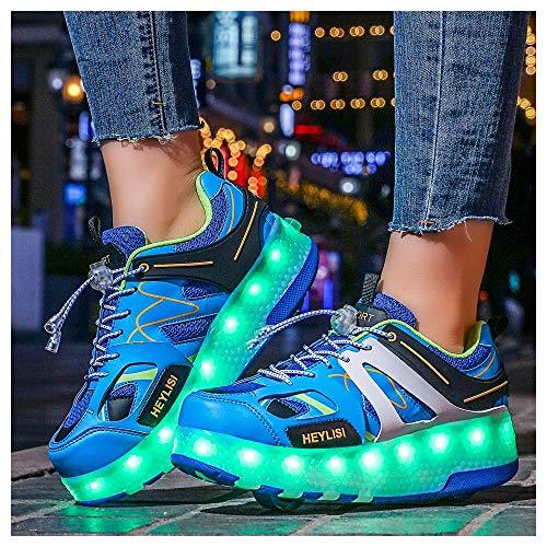 WXBXIEJIA Unisex Niños Niñas LED Luz Flash Zapatos De Roller con USB Recargable Automática Ruedas Patines Al Aire Libre Gimnasia Running Zapatillas De Skateboard, Tamaño (28-40) Blue-39