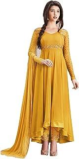 Home Fashion Women's Net Salwar Suit (Hf1011-4_Yellow_Free Size, Semi-Stitched )